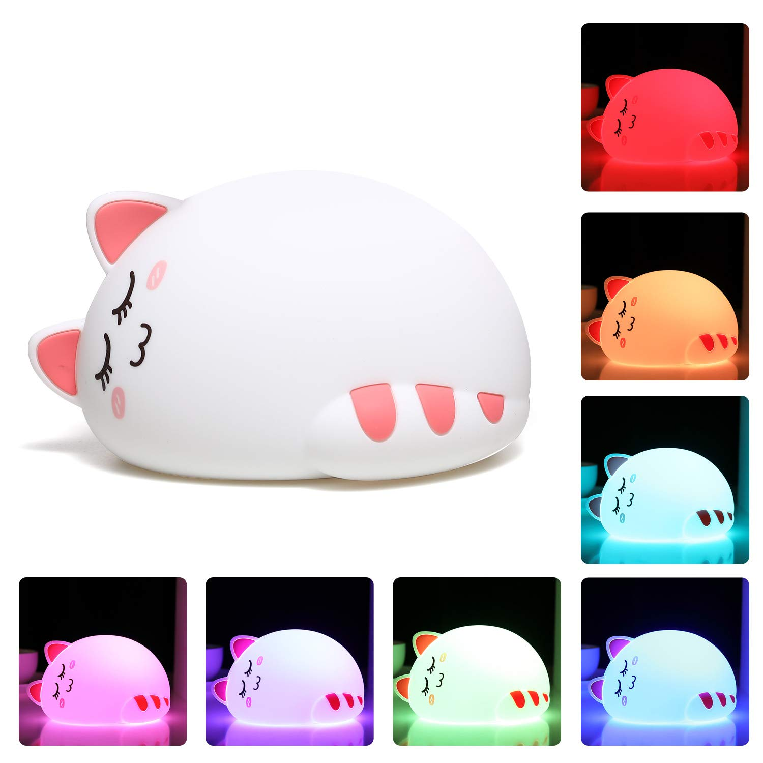 One Fire Baby LED Nursery Night Light for Kids, Tap Control Soft Silicone Bedroom Beside Lamp, Crib Cute Cat Breastfeeding Nightlight Best Gift for Newborn Toddler Children Infant Boys Girls (Sleep)
