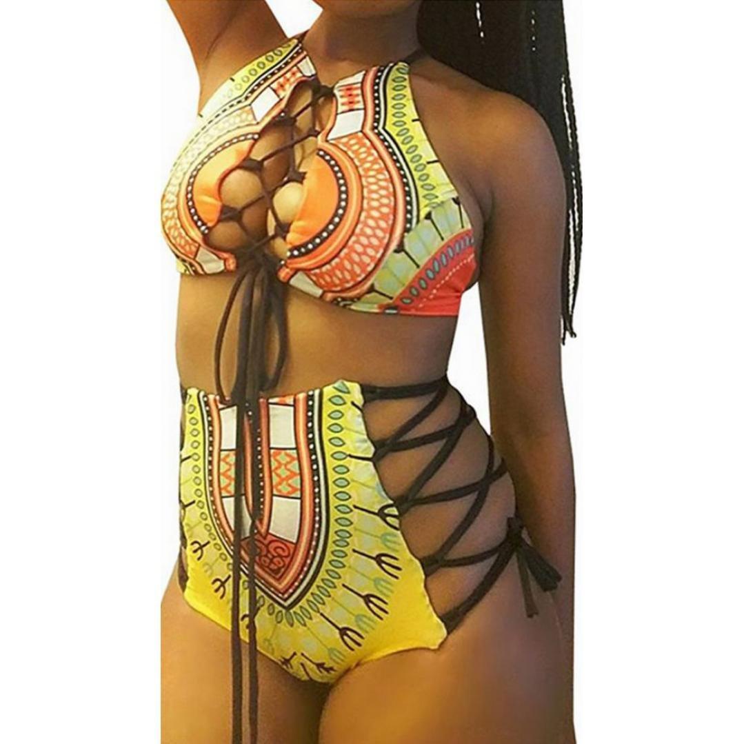 NEARTIME ❤️Swimwear Women, Hot Sexy High Waist Swimsuit Women Plus Size Print Beach Bikini Set (M, Yellow)