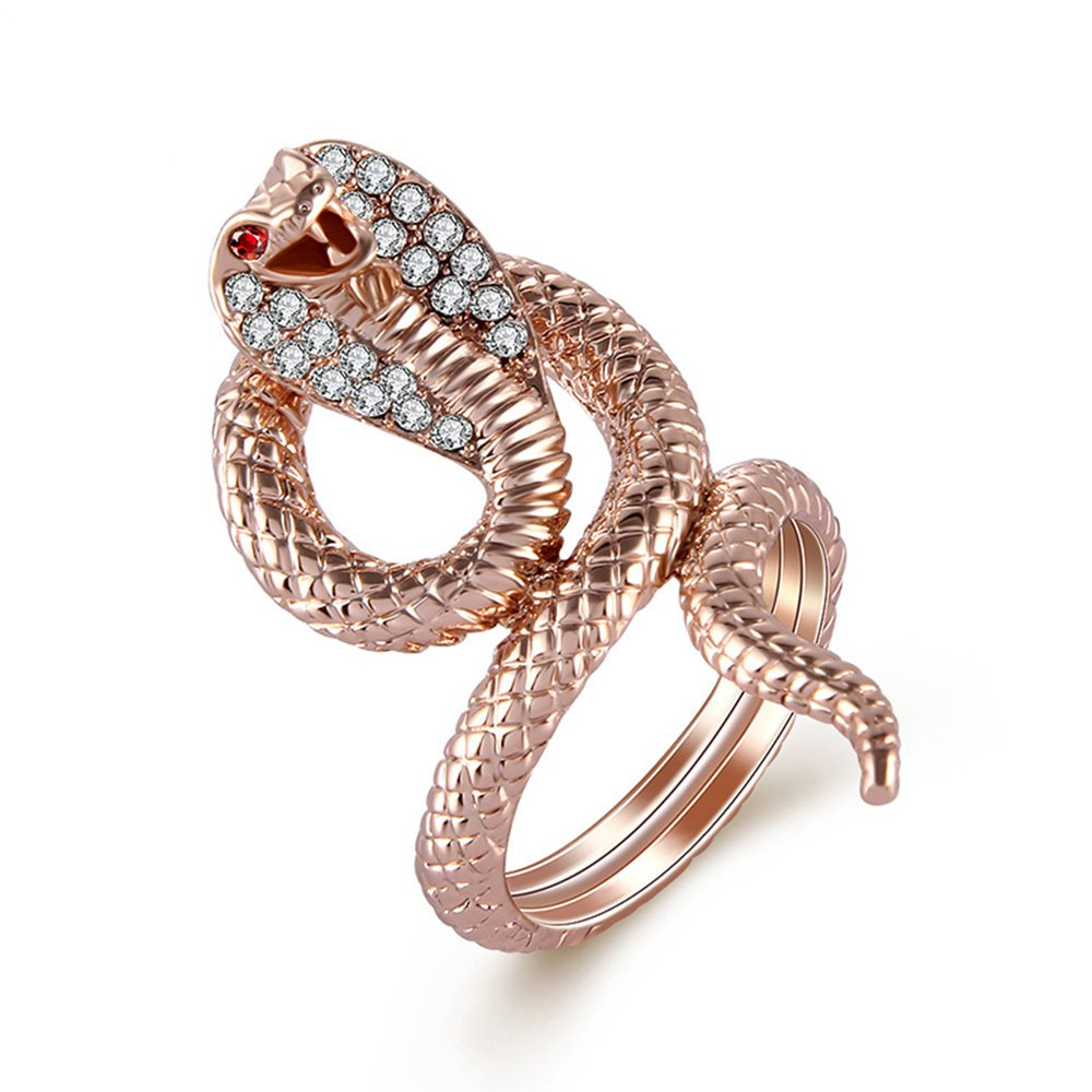 Yfnfxl Womens Crystal Snake Rings CZ Rhinestone Fashion Animal Rings For Women Size 7-9