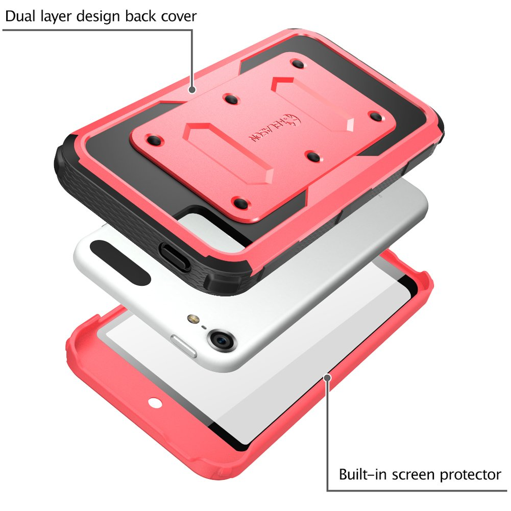 i-Blason Armorbox Case Designed for iPod Touch 7//6//5 White Full Body Case with Built-in Screen Protector for Apple iPod Touch 5th//6th//7th Generation