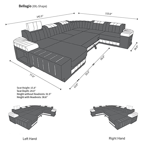 Amazon.com: XXL Sectional Sofa BELLAGIO LED U Shaped ...