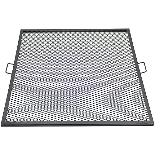 Sunnydaze X-Marks Fire Pit Cooking Grill Grate, Outdoor Square BBQ Campfire Grill, Camping Cookware, 40 Inch ()