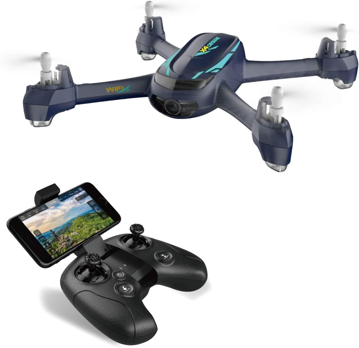Hubsan h216a Drone with 1080P Wide-Angle HD Camera WiFi FPV Live Video and GPS Return Home RC Quadcopter for Adults Beginners.