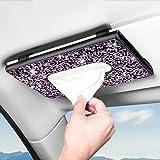 Viseira de sol Bling Bling Bling para carro com caixa de lenços de couro de diamante de cristal para pendurar acessórios de c