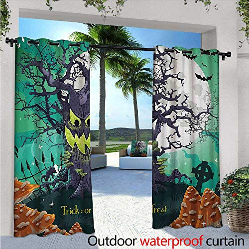 BlountDecor Halloween Patio Curtains W84 x L84 Trick or Treat Dead Forest with Spooky Tree Graves Big Kids Cartoon Art Print Outdoor Curtain for Patio,Outdoor Patio Curtains -