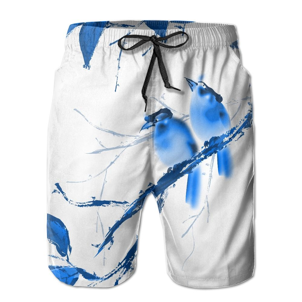 Exotic Chinese Ink Painting Birds On The Branches Summer Swimming Trunks Beachwear Shorts