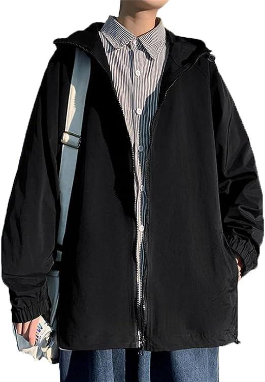 [SHUNYI] メンズ ジャケット ブルゾン 長袖 ウインドブレーカー ジャンパー フード付き ゆったり アウター 防風 コート カジュアル 通勤 通学 春 秋 おしゃれ ファッション 大きいサイズ