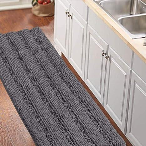 Amazon Com Bathroom Runner Rug Oversize Non Slip Bathroom Rug Shag Shower Mat Extra Long Chenille Area Rug Grey Striped Bath Mat Runner Kitchen Rugs Washable Bath Mats For Bathroom Gray Size 59 X
