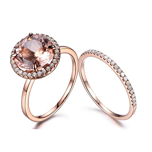2 14k rose gold morganite wedding ring setnatural 10mm round pinkhalo claw - Morganite Wedding Ring