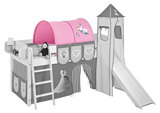 Etagenbett Rosa : Prinzessinnenbett hochbett mit turm weiß rosa massivholz von
