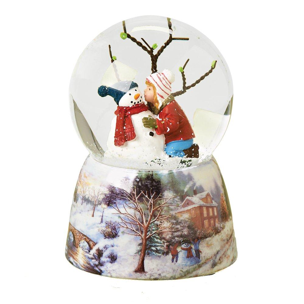 Roman Musical 5 Child Kissing Snowman Glitter Dome Water Globe  PlaysJingle Bells Inc 33102