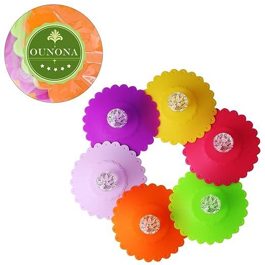 Tapas de los Potes y Tapas de las Cacerolas Tapas de la Taza de la Bebida del Silic/ón en Forma de Diamante Color Aleatorio Hemoton Tapas de Taza Caliente de Silicona Set of 6,