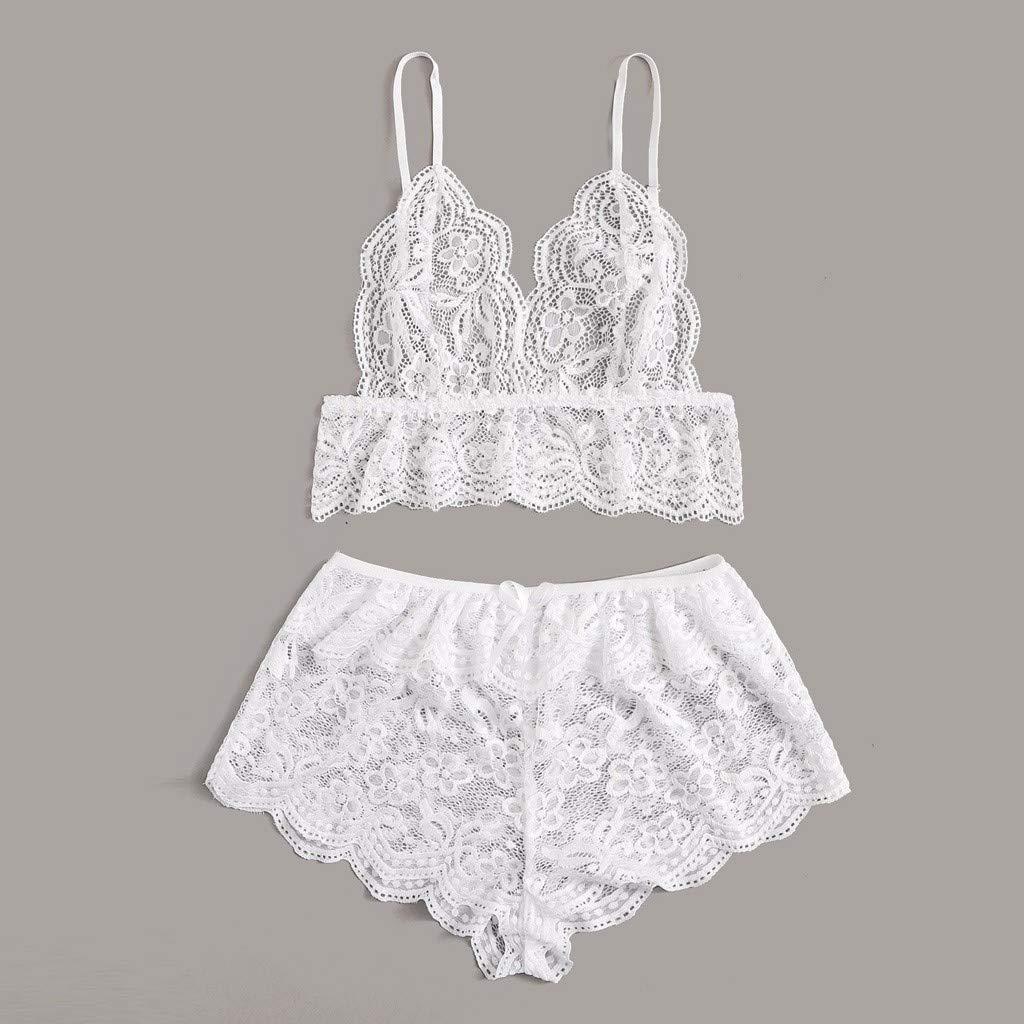 Malbaba Womens Lace Sleepwear V Neck Cami Top and Shorts Pajama Set