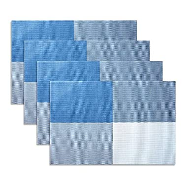 Placemat,U'artlines Gird Blue Crossweave Woven Vinyl Non-slip Insulation Placemat Washable Table Mats Set of 4