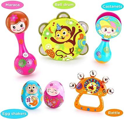 Baby Kids Wooden Handle 10 Bells Jingle Stick Shaker Sensory Rattle Toys WO