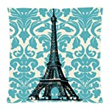 Teal Turquoise Damask Vintage French Floral Swirls With Paris Eiffel Tower Zippered Pillow Case/Cover Pillowcase Decor Cushion Covers Square 18*18 Inch (Twin Sides)