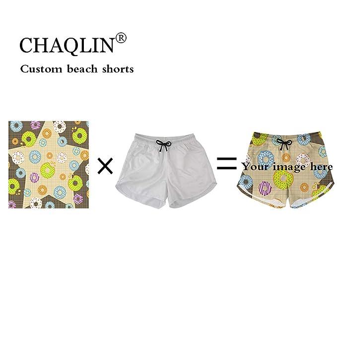 80a27e1718 chaqlin Custom Your Photos Womens Casual Classic Fit Short Swim Trunks Beachwear  Summer Holiday Swim Pants