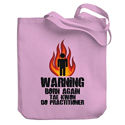 Teeburon Warning Born again Tae Kwon Do Practitioner Canvas Tote Bag