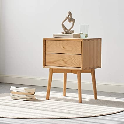 Modern Style Bedside. Light Oak Wood Effect Two Drawer Chest Bedside Cabinet