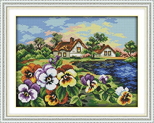 Zamtac The Hometown of Pansy Cross Stitch kit aida 14ct 11ct Count Printed Canvas Stitches Embroidery DIY Handmade Needlework - (Size: Cotton Thread, Cross Stitch Fabric CT Number: 14ct Print Canvas) (Count Cross Stitch Pansy)