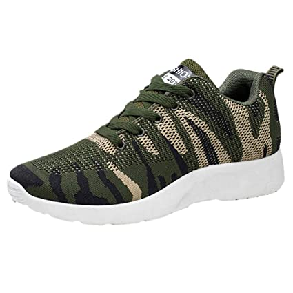 Men Outdoor Mesh Casual Sports Shoes Runing Breathable Shoes Lace-up Sneakers (Army Green