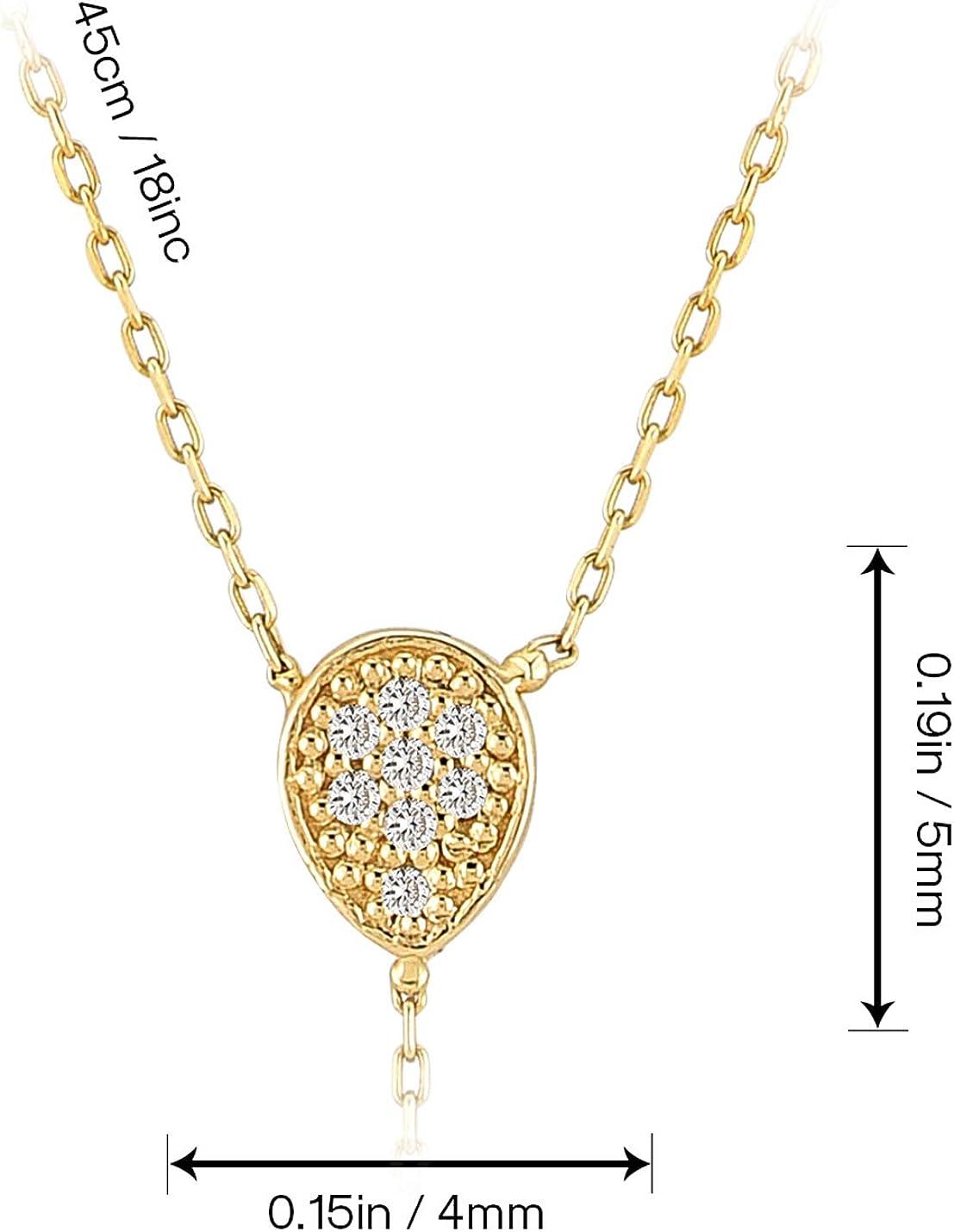 Surprise Fine Jewellery,18 inch GELIN 14k Solid Gold 0,03 ct Diamond Teardrop Pendant Y Necklace for Women