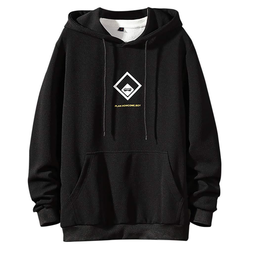 ✦HebeTop✦ Men Hooded, Winter Autumn Contrast T-Shirt Color O-Neck Long Sleeve Button Casual Slim Tunic Tops