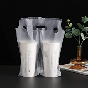 Clear Handle Drink Cup Plastic Bags, Drink Carrier Packaging Bags for Coffee/Juice/Tea, Portable Carrier for Bar Coffee Shop Delivery, Package Pouches Take-Out Cup Holder (100 PCS, 11.8x10.23