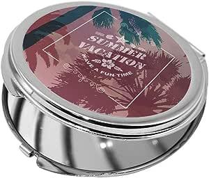 summer facation Printed Pocket Circular Mirror