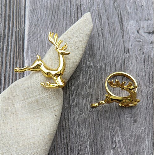 Set of 100 Napkin Rings for Holidays, Wedding, Dinners, Parties, Everyday Use, Bulk Wholesale (Gold Deer) by Elehere