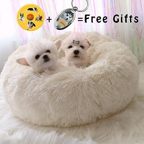 Lamzoom Cama para Mascotas Deluxe para Gatos y Perros Pequeños y medianos con Cojín Suave Redondo u Ovalado para Nido de Donut, Cama para Mascotas y ...