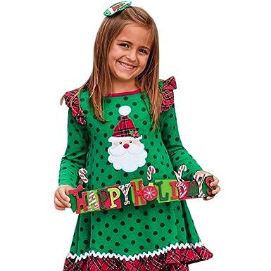 3fba8788db74 Amazon.com  OCEAN-STORE Toddler Baby Girls 6 Months-5T Christmas Ruffles  Long Sleeve Cartoon Print Dot Dress Clothes Black  Clothing
