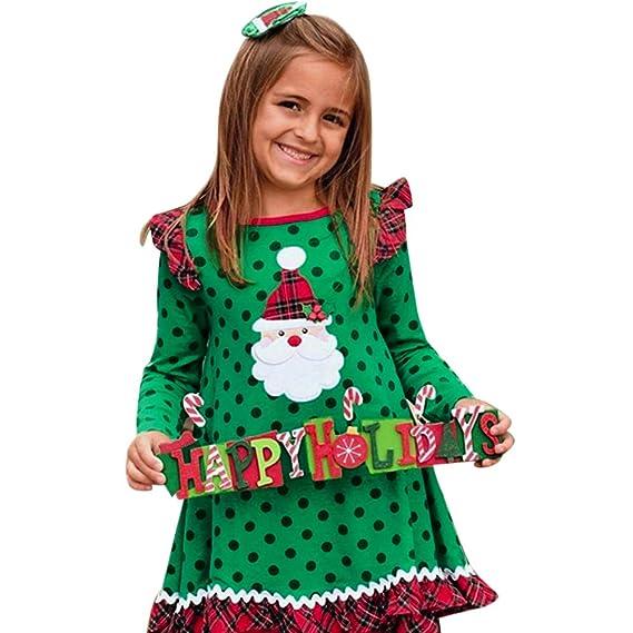 ASHOP Vestidos niña/ Vestido de Manga Larga de Volantes de Navidad ...