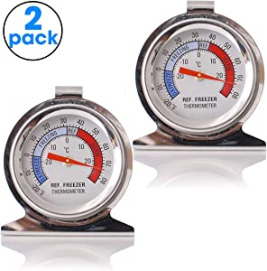 SuReady Refrigerator Freezer Thermometer Large Dial Thermometer Set 2 - Monitor the Internal Temperature of Your Refrigerator or Freezer