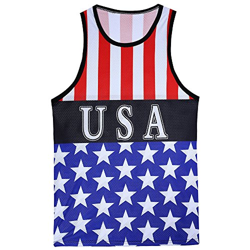 WUAI Mens Casual Shirts Tank Tops American Flag Stripes Stars Fashion Workout Holiday Shirts(Blue,US Size L = Tag XL) ()