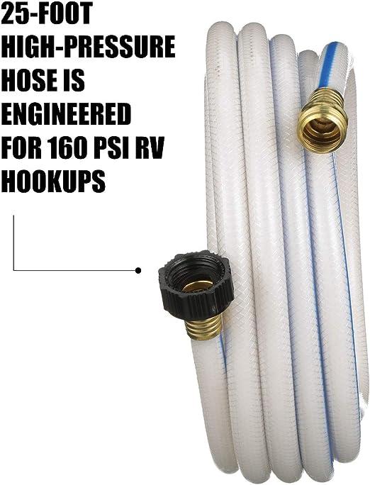 "Valterra W01-6300 AquaFresh High Pressure Drinking Water Hose 5//8/"" x 25/' W..."