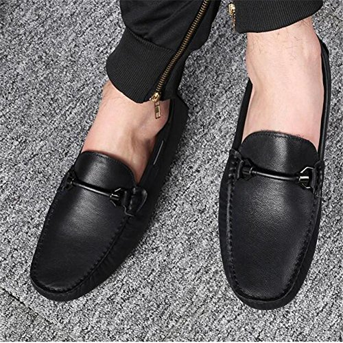 De 38 44 Slip Cuero Eu42 Zapatos Conducción Casuales Negro Elegantes A Mocasines Brown Eu44 On Hombre Nanxie Talla Genuino 65AgqSw