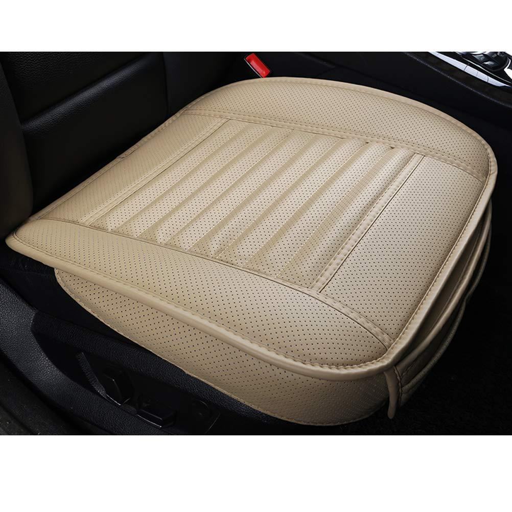 LUOLLOVE Sitzbezü g Auto Universal Leder Bambus-Kohle-atmungsaktiv fü r Vordersitz 1Stü ck (Beige 21.8 x 20.1 Inches) WMGoodds SC-002