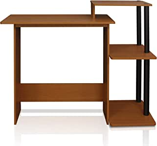 FURINNO Efficient Home Laptop Notebook Computer Desk, Square Side Shelves, Light Cherry/Black
