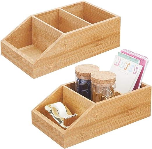 mDesign Juego de 2 cajas organizadoras grandes de madera de bambú ...