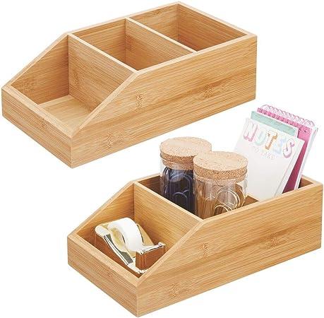 mDesign Juego de 2 cajas organizadoras grandes de madera de bambú – Organizador de escritorio abierto con 3 compartimentos – Caja de madera ecológica para blocs de notas, clips, celo, etc. – natural: Amazon.es: Hogar