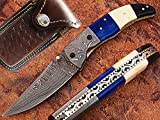 Cheap AishaTech Stone Wall Pocket Knife Damascus Steel Blade Bone and Horn Handle