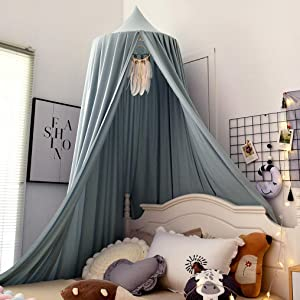 HggTjj Extra Large Kids Bed Canopy for Girls Boys Bedroom Decor, Hanging Canopy for Reading Corner, Baby Crib Canopy for Nursery, Play Tent House Castle - Greish Blue