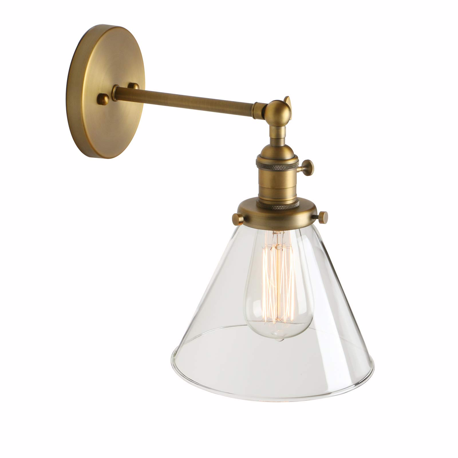 Loft Vintage Wall Light Dia 7.3'' Wall Lamp with Funnel Clear Glass Shade Design Vintage Industrial Home Wall Light Metal Base Cap Fixture Flush Mount Wall Sconce by Pathson Lights
