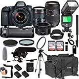 Canon EOS 6D Mark II With 24-105mm f/4 L IS II USM + 50mm 1.8 STM + Tamron 70-300mm + 128GB Memory + Pro Battery Bundle + Power Grip + Microphone + TTL SpeedLight + Pro Filters,(25pc Bunle)