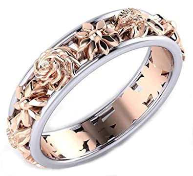 702c36efe145d TEMEGO 2 Tone White Rose Gold Plated Rose Flower Hawaiian Plumeria Flower  Eternity Wedding Band Engagement Promise Ring