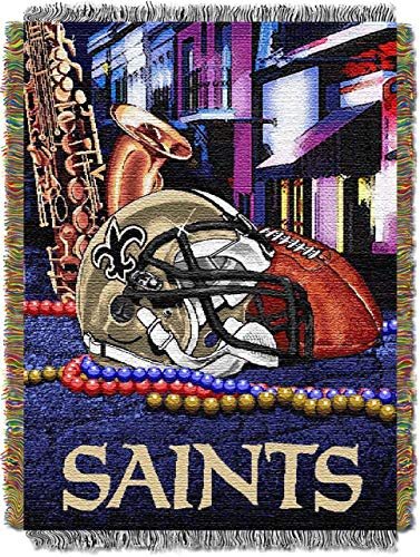 The Northwest Company Officially Licensed NFL New Orleans Saints Home Field Advantage Woven Tapestry Throw Blanket, 48