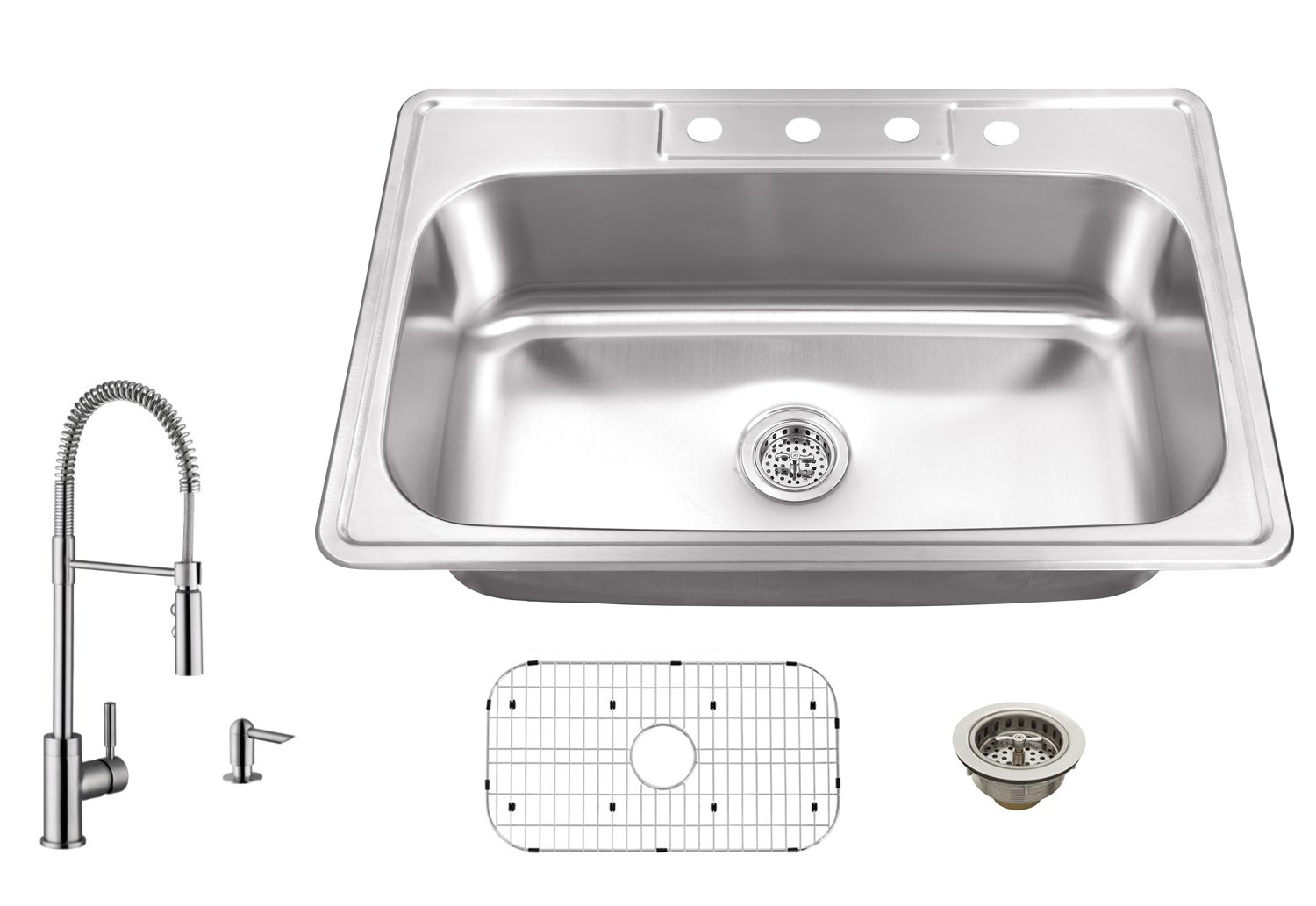MSDP3322SBPGR7556 33-in x 22-in 20 Gauge Stainless Steel Single Bowl Kitchen Sink with Pull Out Kitchen Faucet and Soap Dispenser