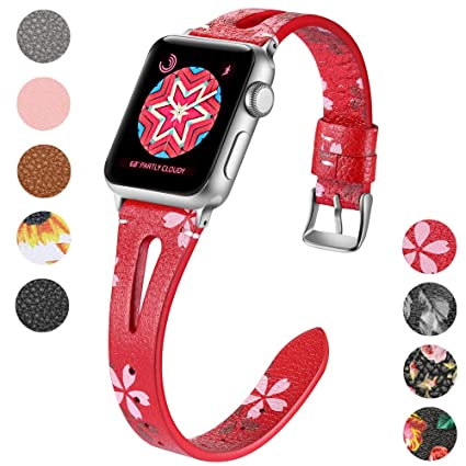 13bf78043c83 Haveda Leather Bands Compatible for Apple Watch 40mm 38mm 44mm 42mm, iWatch Series  4, Series3, Series2/1, Women Apple Watch 4 Band Slim Feminine Breathable ...