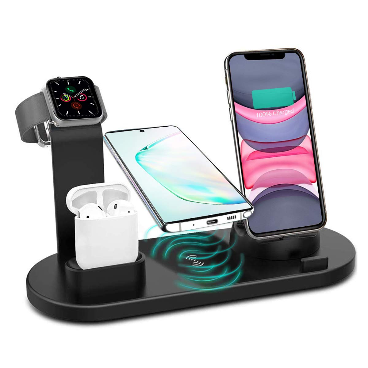 Wireless Charger, 4 in 1 Wireless Charging Station, Charging Dock for iPhone/AirPods, Qi-Certified Fast Wireless Charging Stand iPhone 11/11Pro/11Pro Max/X/XS/XR/Max / 8/8 Plus Samsung(Black) by KITPIPI
